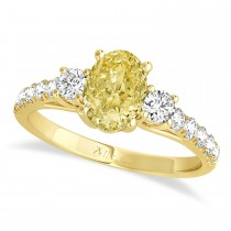 Oval Cut Yellow Diamond & Diamond Engagement Ring Setting 14k Yellow Gold (1.15ct)