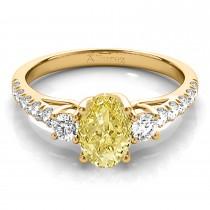 Oval Cut Yellow Diamond & Diamond Engagement Ring 14k Yellow Gold (1.40ct)