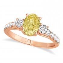 Oval Cut Yellow Diamond & Diamond Engagement Ring Setting 18k Rose Gold (1.15ct)