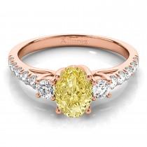 Oval Cut Yellow Diamond & Diamond Engagement Ring 18k Rose Gold (1.40ct)