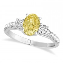 Oval Cut Yellow Diamond & Diamond Engagement Ring Setting 18k White Gold (1.15ct)
