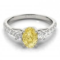 Oval Cut Yellow Diamond & Diamond Engagement Ring 18k White Gold (1.40ct)