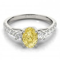 Oval Cut Yellow Diamond & Diamond Engagement Ring Palladium (1.40ct)