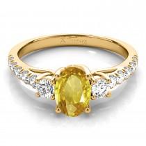 Oval Cut Yellow Sapphire & Diamond Engagement Ring 14k Yellow Gold (1.40ct)