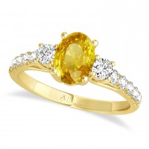 Oval Cut Yellow Sapphire & Diamond Engagement Ring 18k Yellow Gold (1.40ct)