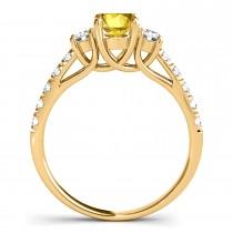 Oval Cut Yellow Sapphire & Diamond Engagement Ring 18k Yellow Gold (1.40ct)