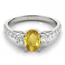 Oval Cut Yellow Sapphire & Diamond Engagement Ring Platinum (1.40ct)