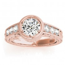 Diamond Antique Style Engagement Ring Setting 14K Rose Gold (0.24ct)