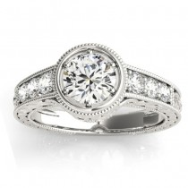 Diamond Antique Style Engagement Ring Setting 18K White Gold (0.24ct)