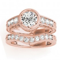 Diamond Antique Style Bridal Set Setting 14K Rose Gold (0.47ct)