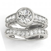 Diamond Antique Style Bridal Set Setting Palladium (0.47ct)