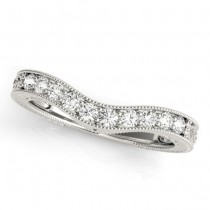 Diamond Antique Contoured Wedding Band  14k White Gold 0.23ct