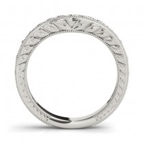 Diamond Antique Style Contoured Wedding Band 18k White Gold (0.23ct)