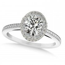 Oval Diamond Halo Engagement Ring 14k White Gold (1.71ct)