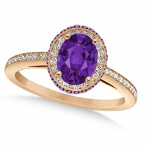 Oval Amethyst & Diamond Halo Engagement Ring 14k Rose Gold (1.75ct)