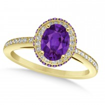 Oval Amethyst & Diamond Halo Engagement Ring 14k Yellow Gold (1.75ct)