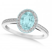 Oval Aquamarine & Diamond Halo Engagement Ring 14k White Gold (1.60ct)
