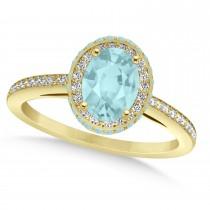 Oval Aquamarine & Diamond Halo Engagement Ring 14k Yellow Gold (1.60ct)