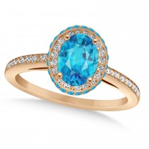 Oval Blue & White Diamond Halo Engagement Ring 14k Rose Gold (1.71ct)