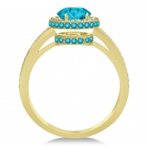 Oval Blue & White Diamond Halo Engagement Ring 14k Yellow Gold (1.71ct)