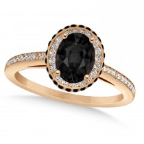 Oval Black & White Diamond Halo Engagement Ring 14k Rose Gold (1.71ct)