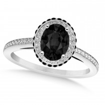 Oval Black & White Diamond Halo Engagement Ring 14k White Gold (1.71ct)