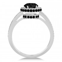 Oval Black & White Diamond Halo Engagement Ring 14k White Gold (1.71ct)|escape