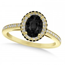 Oval Black & White Diamond Halo Engagement Ring 14k Yellow Gold (1.71ct)