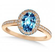 Oval Blue Topaz & Diamond Halo Engagement Ring 14k Rose Gold (2.10ct)