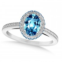 Oval Blue Topaz & Diamond Halo Engagement Ring 14k White Gold (2.10ct)