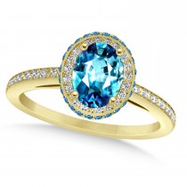 Oval Blue Topaz & Diamond Halo Engagement Ring 14k Yellow Gold (2.10ct)