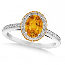 Oval Citrine & Diamond Halo Engagement Ring 14k White Gold (1.75ct)