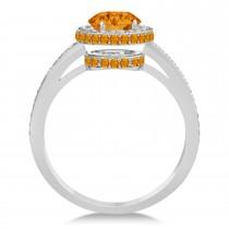 Oval Citrine & Diamond Halo Engagement Ring 14k White Gold (1.75ct)