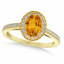 Oval Citrine & Diamond Halo Engagement Ring 14k Yellow Gold (1.75ct)