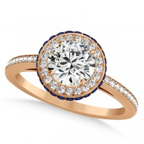 Diamond Halo & Sapphire Gemstone Engagement Ring 14k Rose Gold 1.50ct