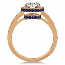 Diamond Halo & Sapphire Gemstone Engagement Ring 14k Rose Gold 1.50ct