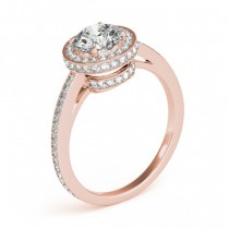 Halo Diamond Engagement Ring Setting Shank Accents 14k R. Gold 0.50ct