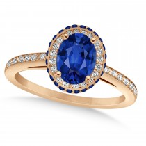 Oval Blue Sapphire Diamond Halo Engagement Ring 14k Rose Gold 2.00ct