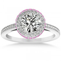 Diamond Halo Engagement Ring Pink Sapphire Accents 14k W. Gold 0.50ct