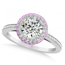 Diamond & Pink Sapphire Gemstone Engagement Ring 14k White Gold 1.50ct