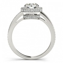 Two-Tier & Halo Round Cut Engagement Ring 14k White Gold (1.50ct)