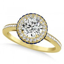 Diamond Halo & Sapphire Gemstone Engagement Ring 14k Yellow Gold 1.50ct