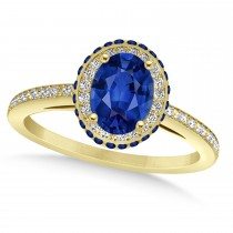 Oval Blue Sapphire Diamond Halo Engagement Ring 14k Yellow Gold 2.00ct