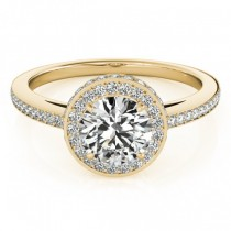 Two-Tier & Halo Round Cut Engagement Ring 14k Yellow Gold (1.50ct)