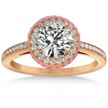 Diamond Halo Engagement Ring Pink Sapphire Accents 18k R. Gold 0.50ct