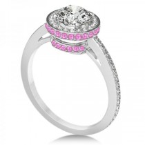 Diamond Halo Engagement Ring Pink Sapphire Accents 18k W. Gold 0.50ct