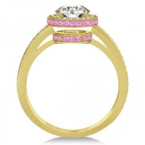 Diamond Halo Engagement Ring Pink Sapphire Accents 18k Y. Gold 0.50ct