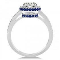 Diamond Halo Engagement Ring Blue Sapphire Accents Palladium (0.50ct)