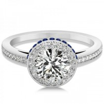 Diamond Halo Engagement Ring Blue Sapphire Accents Palladium (0.50ct)