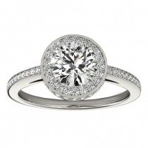 Halo Diamond Engagement Ring Setting Shank Accents Palladium 0.50ct